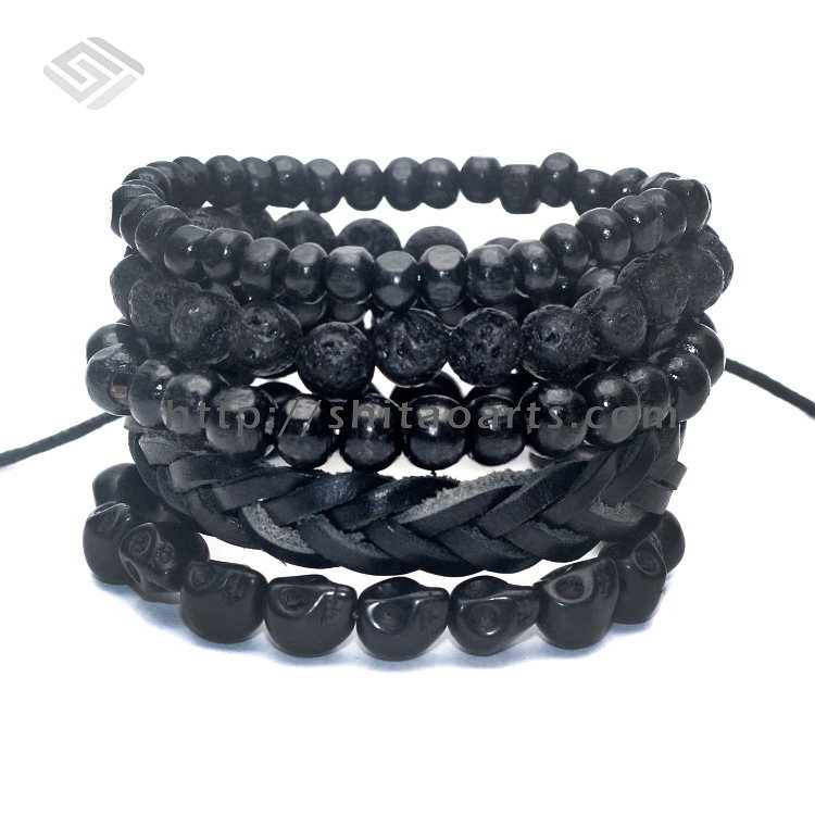 1 Set 5 pcs Black Out Bamboo wood, Lava Stone Beads , Stone Skull and Pull-Closure Leather Bracelet Men's Fashion Bracelet Pack