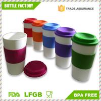 16oz Double Wall Plastic Eco Friendly Coffee Travel Mug with Lid