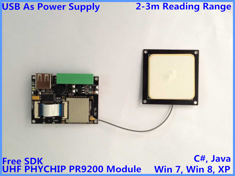 uhf rfid reader module embedded antenna small usb rs232