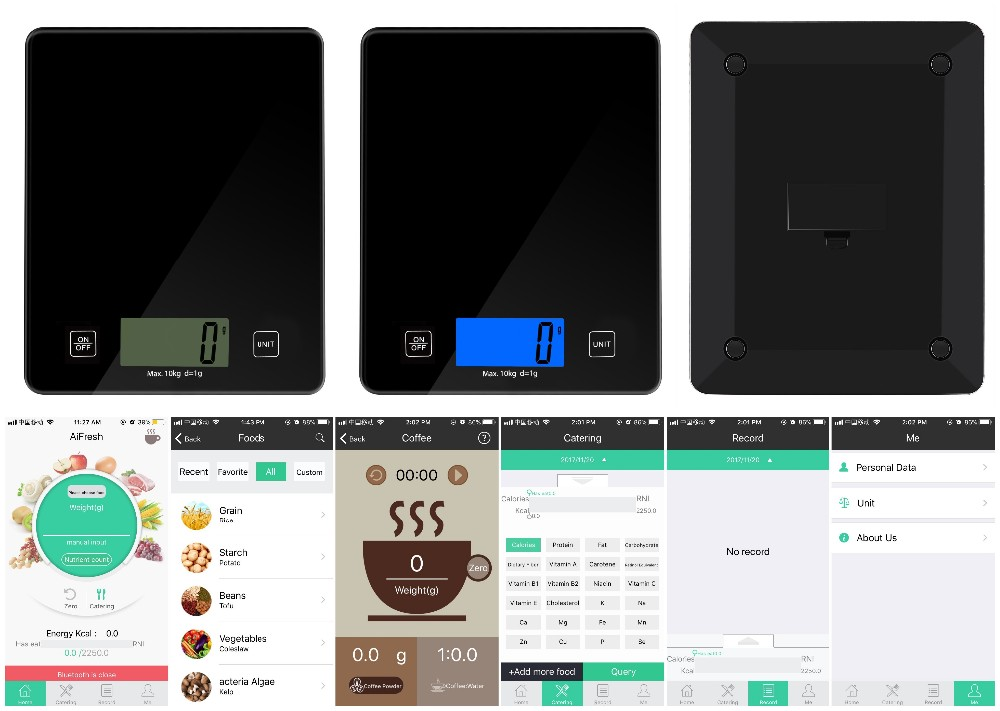 smart kitchen scale glass platform with 5KG/1G digital food scale