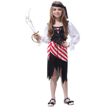 7 Sets/lot Free Shipping Masquerade Party Halloween Caribbean Pirate Costumes Children Girls Fancy Dress Kids Cosplay Clothes