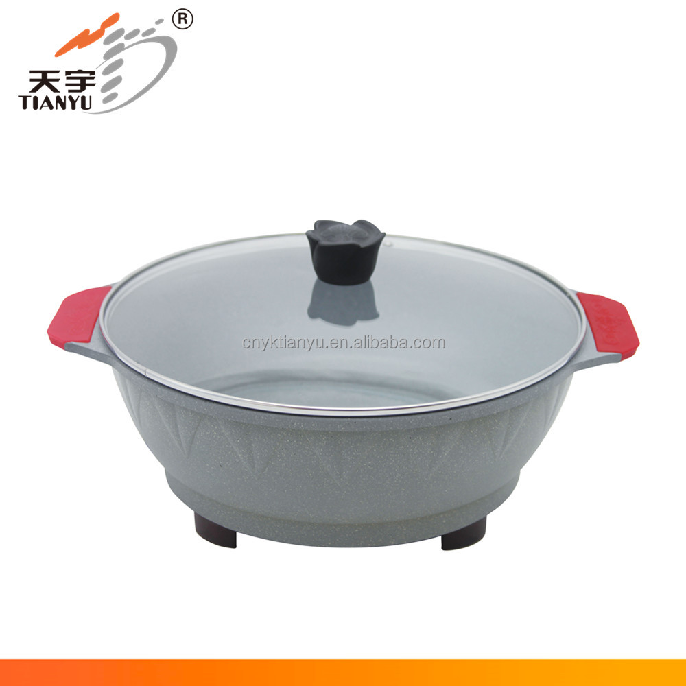 Round shaped casting aluminum korean style electric skillet