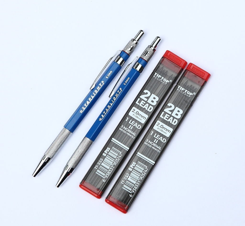 Blue color 2 pieces 2 0 mm lead holder mechanical pencil with 2 tubes pencil lead refill drawing writing tools