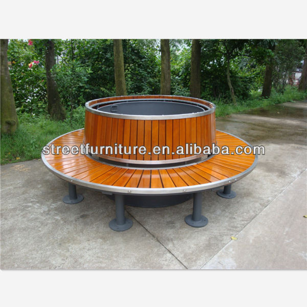 Wood And Metal Round Tree Bench With Solid Wood Slats Bench Seat