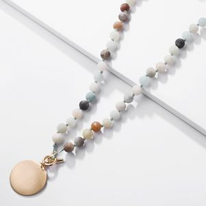 women latest design jewelry popular Wafer coin pendant natural stone bead necklace