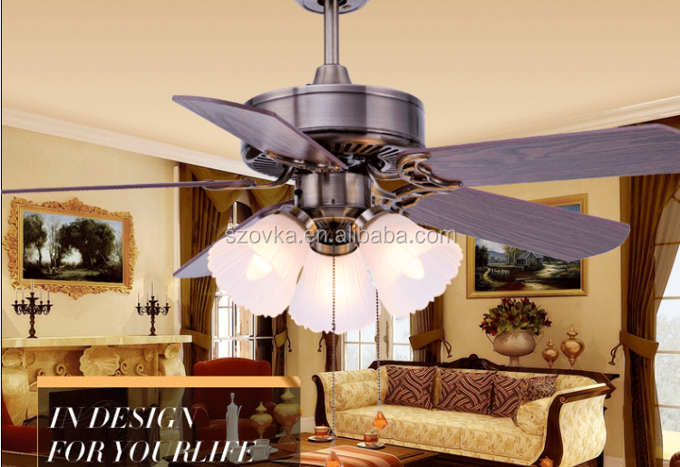 European-style CE Rosh living room 42-inch retro remote control ceiling fan with light