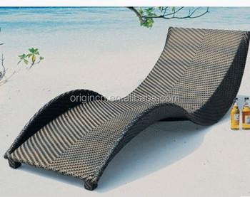 resort style modern s shaped hotel beach sunbathing bed rattan