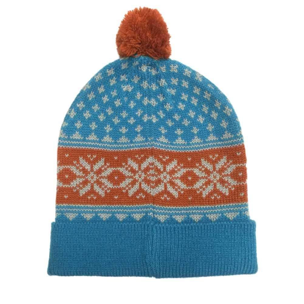 caadeb7a73812 Get Quotations · Aquarius Boys Nordic Blue Snowflake Beanie Pom Pom Hat  Stocking Cap