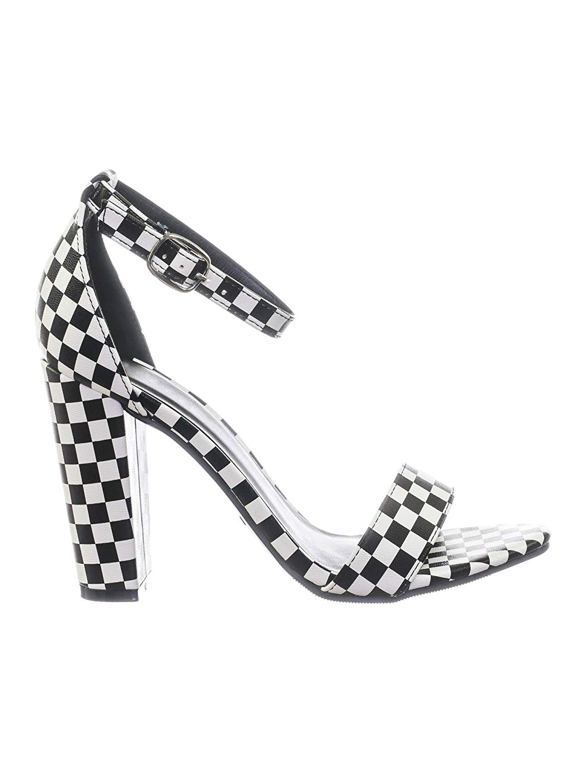 e08c0109ce8d0 Get Quotations · Aquapillar Chunky Block High Heel Dress Sandal w Ankle  Strap in Checkereboard
