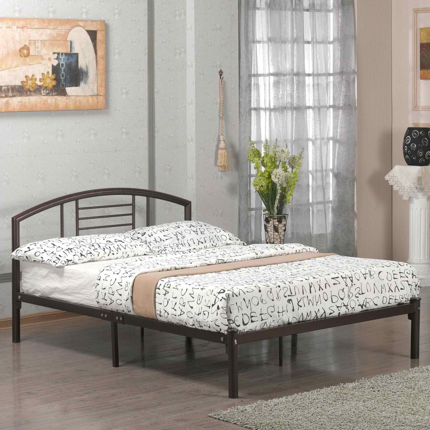 BeUniqueToday Twin Size Metal Platform Bed Frame with Headboard in Bronze Finish, Twin Size Metal Platform Bed Frame with Headboard in Bronze Finish Would be A Great Addition to Your Home