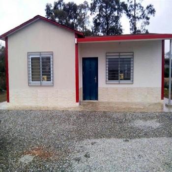100m2 Low Cost Prefab House Built On Concrete Floor With Two-slope Roof -  Buy Prefab House With Two-slope Roof,100m2 Low Cost Prefab House,Prefab