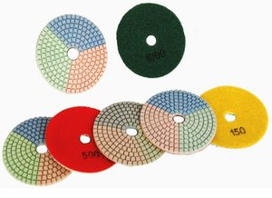 Flexible angle grinder dry polishing pads for stone