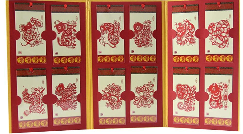 Bookmarks Paper Cutting Bookmarks Paper-cut Bookmark 12 Zodiac,Red