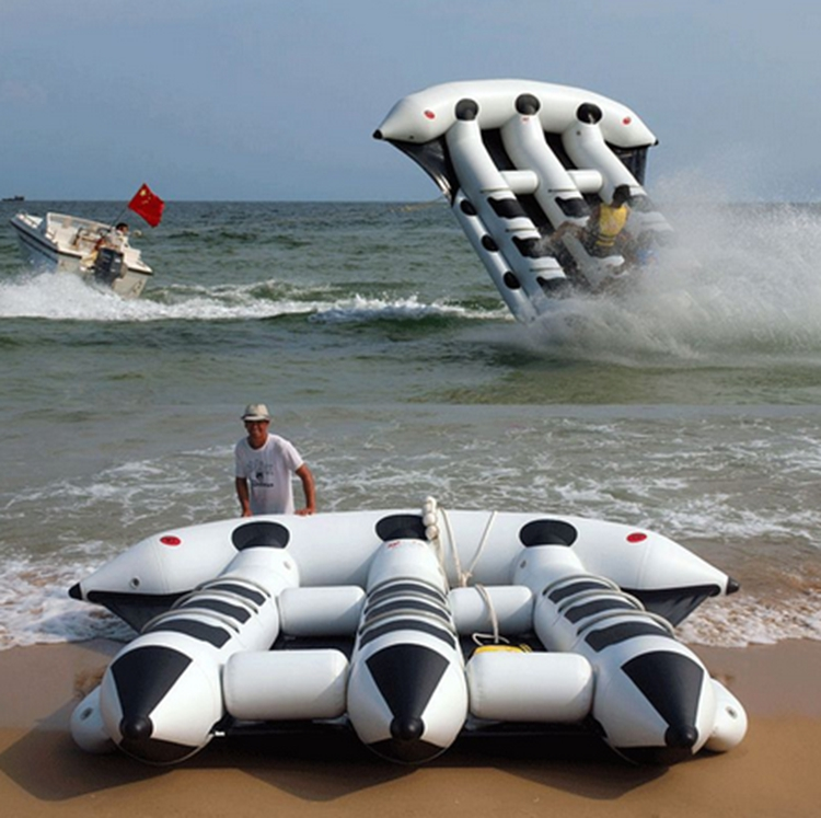 12 Seats Commercial Tarpaulin PVC Inflatable Flying Fish Tube Water Towable Tube Boat Toy for Water Sports