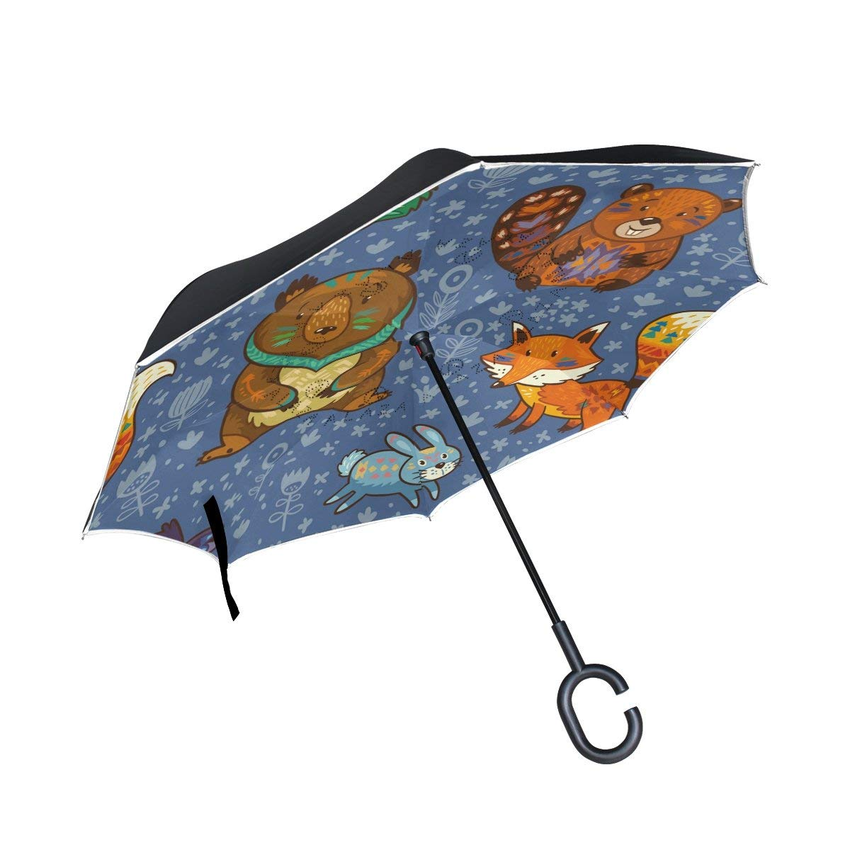 Reverse Inverted Windproof Cute Sloths Sleeping Umbrella Double Layer Inside Out Folding Umbrella Upside Down Umbrellas with C-Shaped Handle for Women and Men
