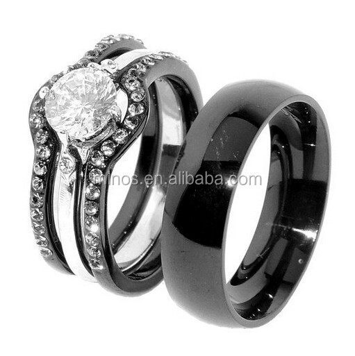 His & Hers 4 PCS Black IP Stainless Steel Engagement Ring Set Mens Matching Band