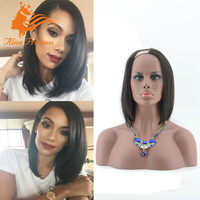Alibaba Hot Sale Online Fashion Straight High Quality 130% Density Brazilian Virgin Hair Short Bob Wig Human Hair Lace Wig