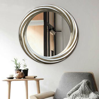 Antique decorative classical style silver and gold round plastic wall mirror