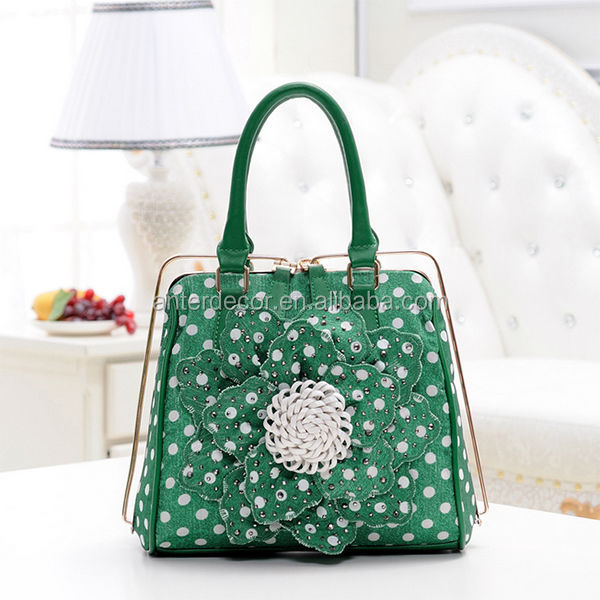 China factory green flower canvas tote bag for women