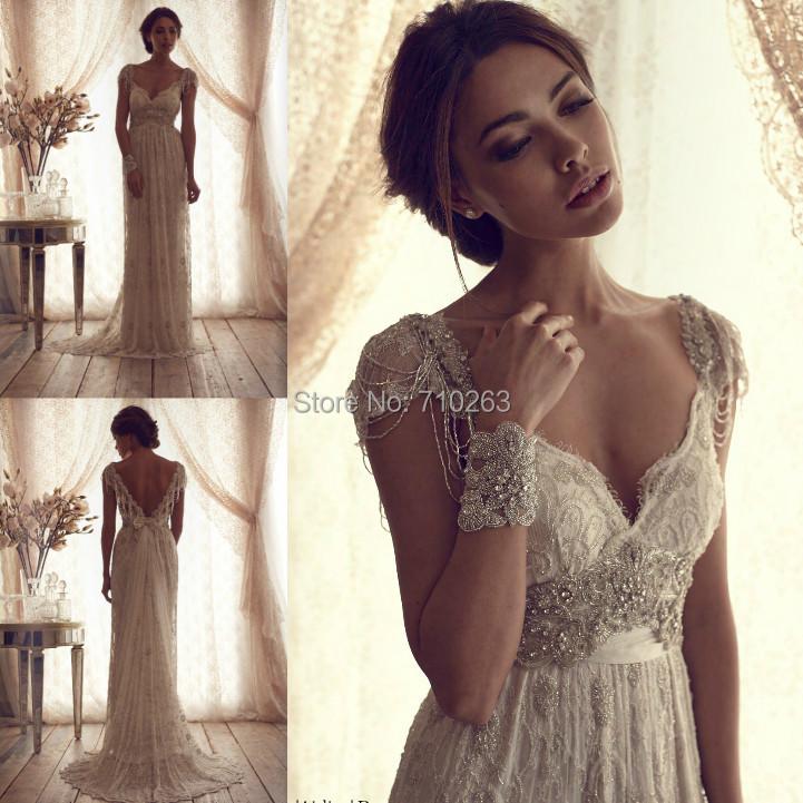 vintage ivory lace wedding dress 2016 high quality elegant sexy a line v neck short cap sleeves. Black Bedroom Furniture Sets. Home Design Ideas