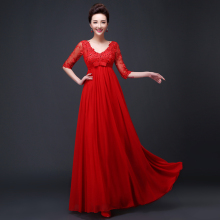 2016 new Hot sale Evening dress red long design high waist bridal maternity formal Vestidos de fiesta plus size red half sleeve