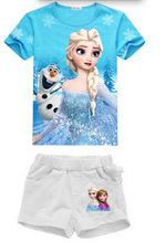 2016 Baby girl Elsa Anna t shirt children clothes toddler tops t shirt Short pants cute