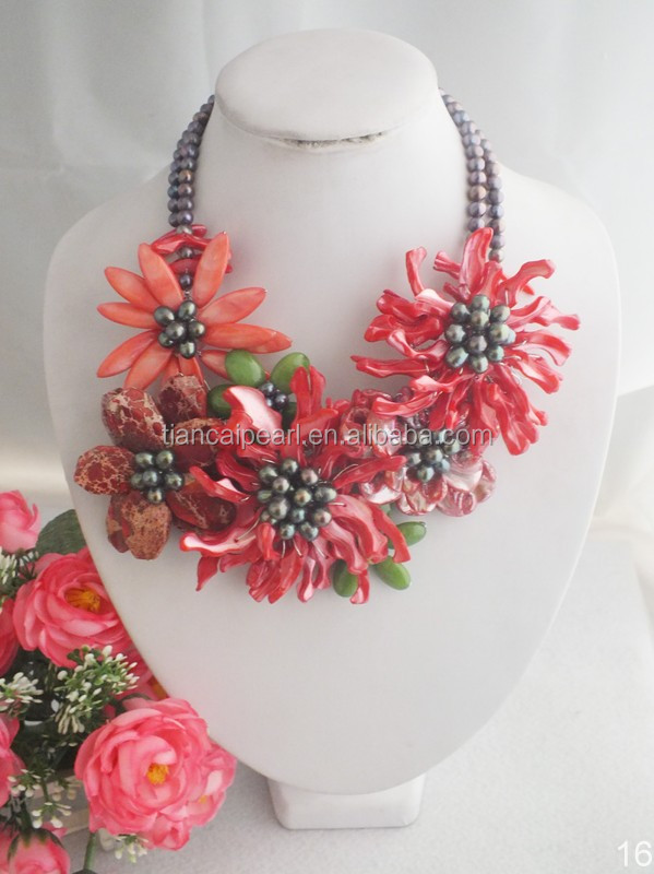 A-3939 Fashion African Freshwater pearl Flower Beads Jewelry Necklace For Wedding