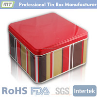 square large tin container for cookie package