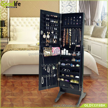brown mirror lockable jewelry led cabinet product songmics standing armoire organizer with drawers