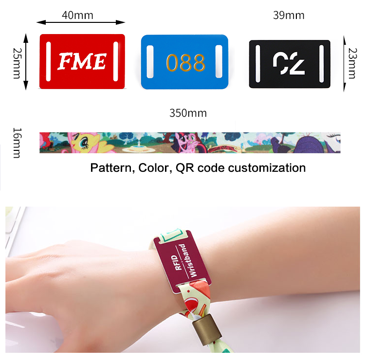 Disposable QR code one time use 13.56MHZ NFC RFID Fabric Woven Wristband with chip for Concert