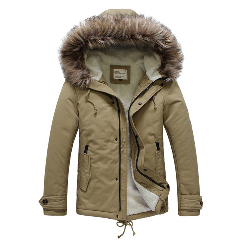Hot Fashion Men's Winter Jackets And Coats Hooded Padded Cotton Overcoat With Fur Thick Warm Parka Men Sportswear Casual EHY701