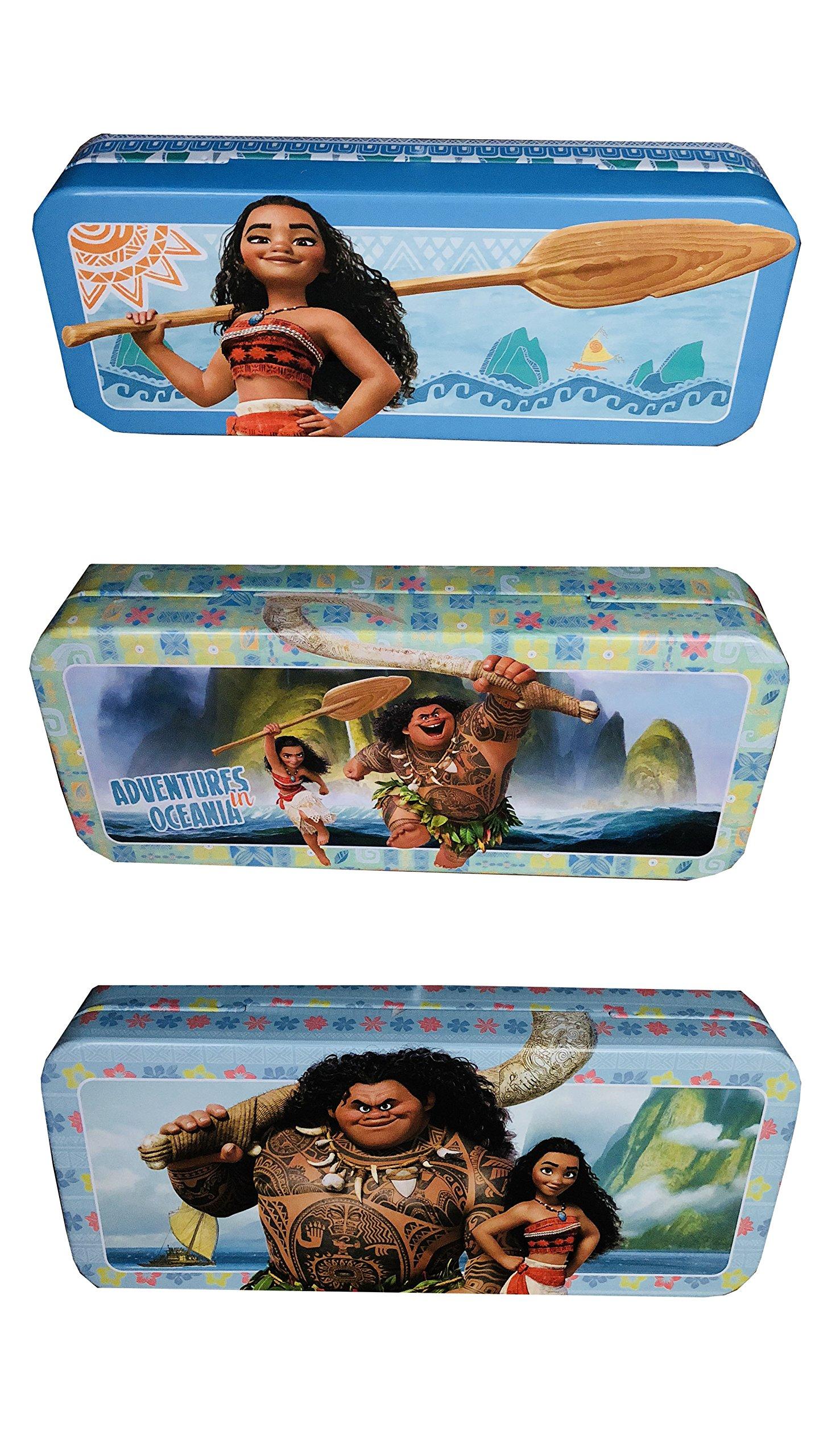 Moana - Set of 3 Pieces Tin Pencil Cases Pencil Boxes