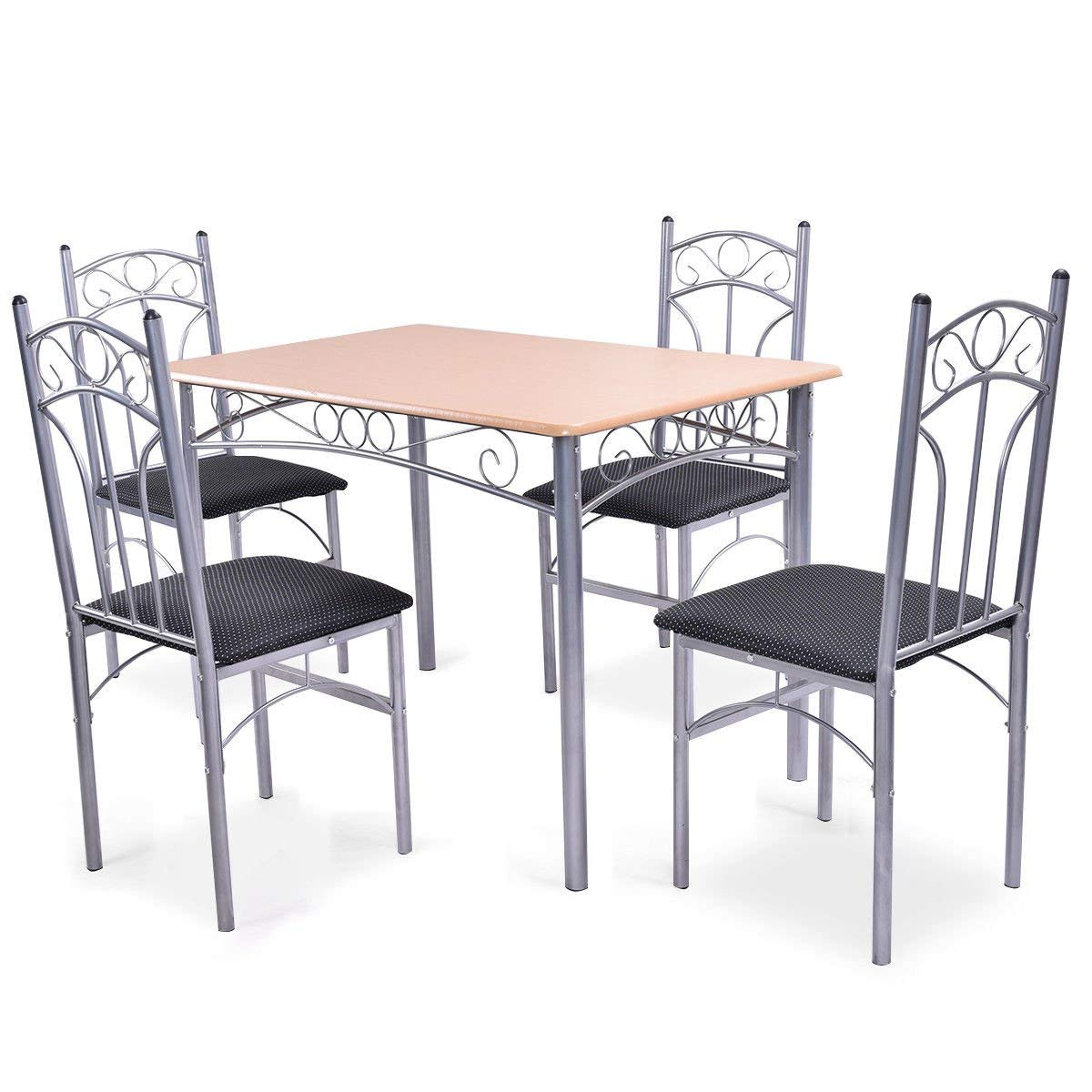 1 Table With 4Chairs Yopih Steel Frame Dining Set Table and Chairs Kitchen Modern Furniture Bistro Wood