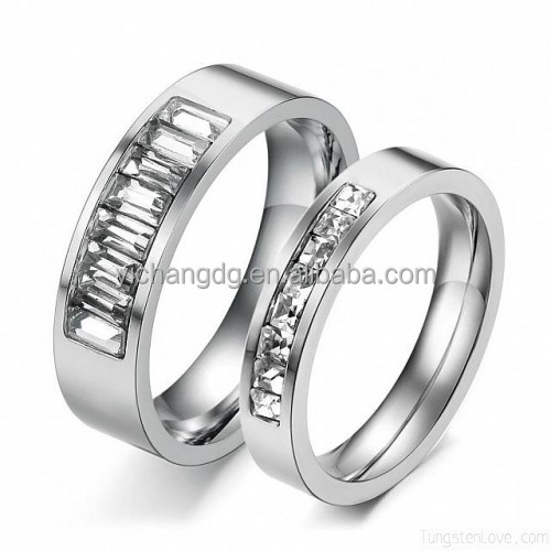 316l Stainless Steel Couple Lovers Rings Wedding Bands Set with Cubic Zirconial Stones Inlay Engagemen