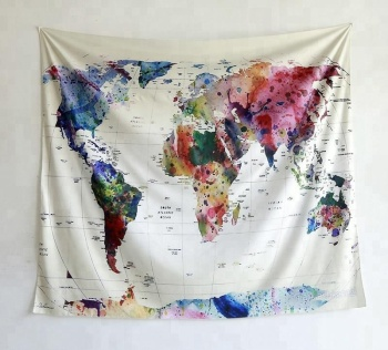 Home Decor Large Space Watercolor World Map Indian Art Fabric Wall on