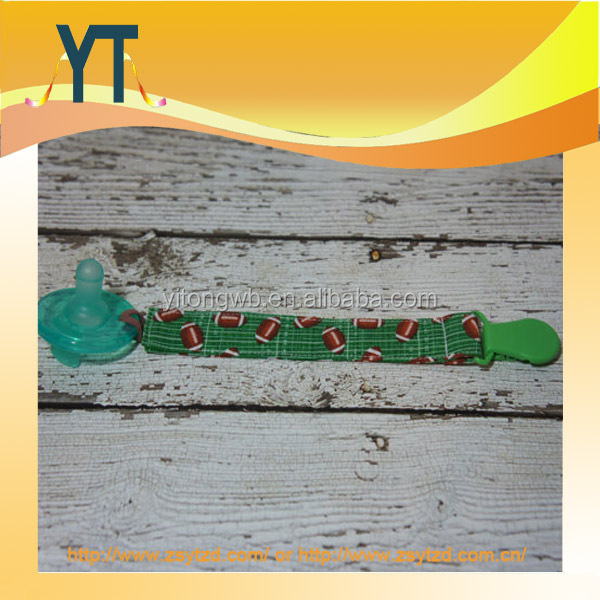 Cute Green Football Design,Pacifier Clip Holder,Pacifier Holder Set for Girls and Boys