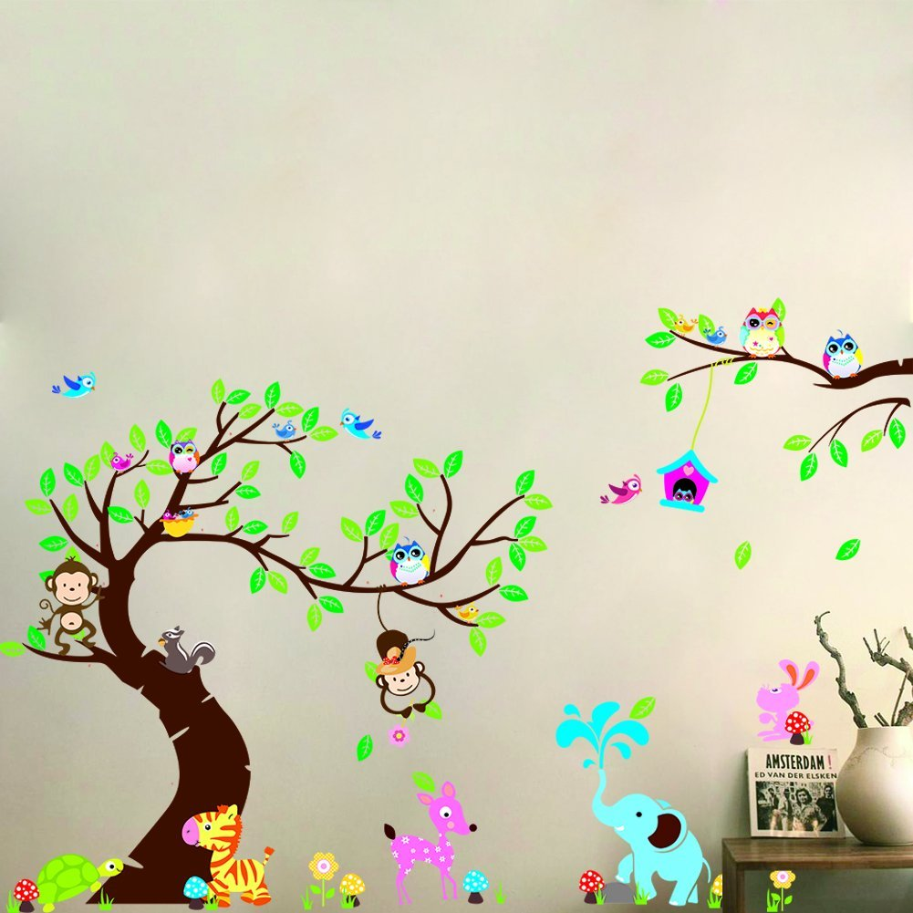 """MLM 56""""×100.4"""" Forest Animals Owl Birds hanging Monkey Squirrel Colorful Tree Art Wall Stickers Decal for Nursery Home Decor Removable Vinyl Mural"""