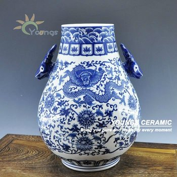 Chinese Blue White Decorative Floral Dragon Vase With Double Deer