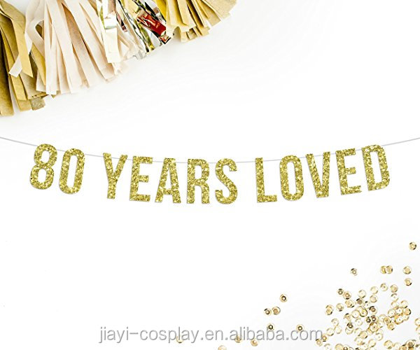 80 Years Loved Gold Glitter Party Banner for birthday party