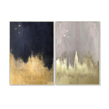Simple Design Handmade Abstract Gold Leaf Oil Painting Stretched Art