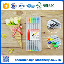 Hot selling 12 colors fine line marker pen in hard platic box