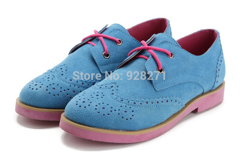 New 2014 Women Casual Genuine Leather Oxford Shoes British Fashion Brogue Lady Falt Shoes Sapatos Femininos Free Shipping