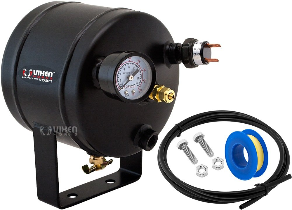 Vixen Horns 0.5 Gallon (2 Liter) 5 Ports Train/Air Horn Tank System/Kit 115 PSI with Gauge,Pressure Switch,Drain Valve,Compression Fitting,Hose,Thread Sealant Small/Compact VXT0500