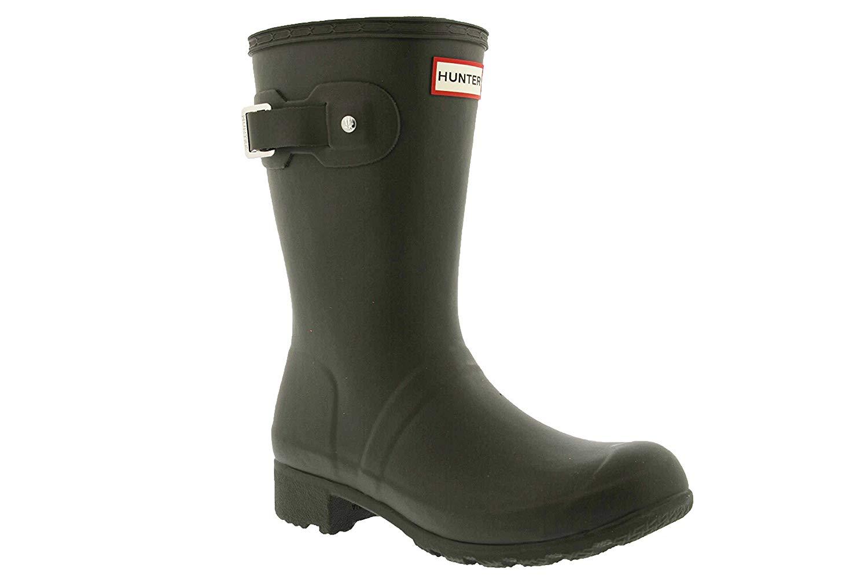 Hunter Women's Original Tour Short Packable Rain Boots Swamp Green