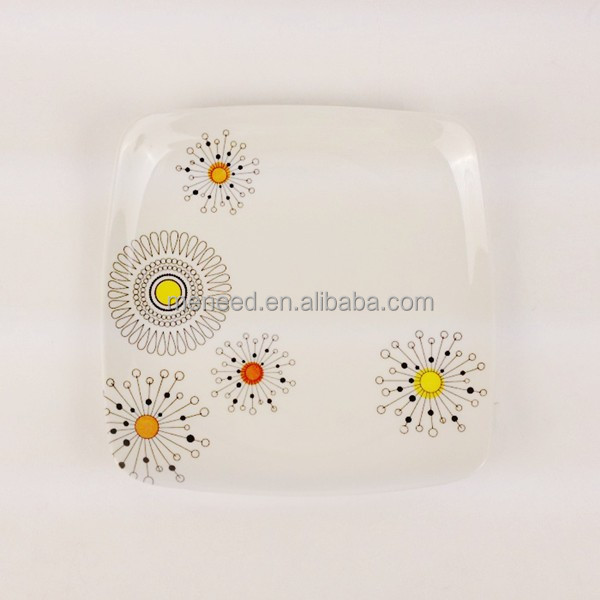 plastic melamine square customized plates with flower design
