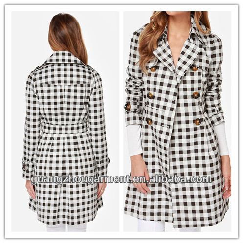 2014 women Checkered Coat button side black white star fashion long coat new OEM bulk coats wholesale cheap price winter autunm