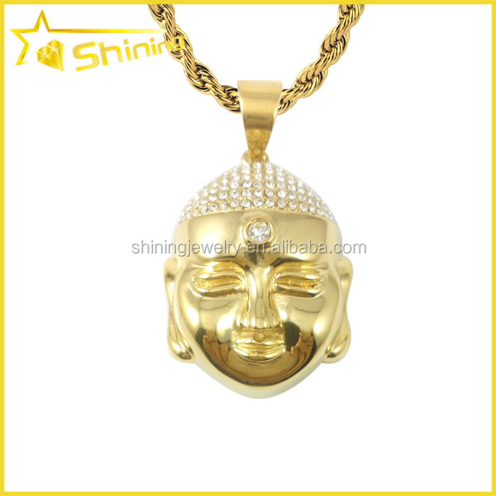 Hip Hop New 14K Yellow Gold Crystal stainless steel buddha pendant