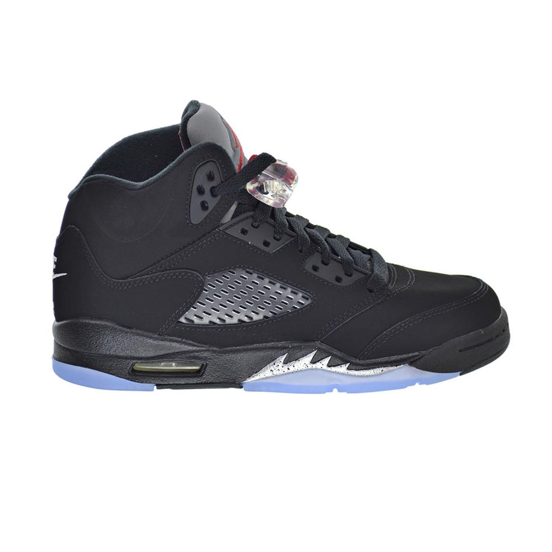 72ac603119cc Get Quotations · Air Jordan 5 Retro OG BG Big Kid s Shoes Black Fire Red Metallic  Silver