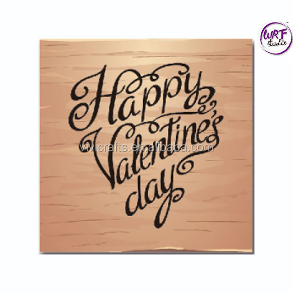 Happy Valentines Day Alphabet Handle DIY Wood Rubber Stamp