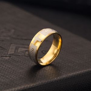 Two Tone Stainless Steel Jesus Love You Rings for Men Religious Unique Jewelry